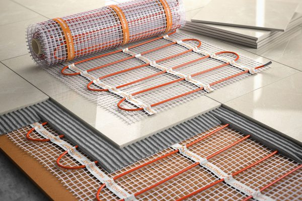 Underfloor heating installation concept. Mat elecric heating system with ceramic tiles and cement layers 3d illustration